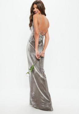 Bridesmaid Grey Velvet Plunge Lace Up Back Maxi Dress
