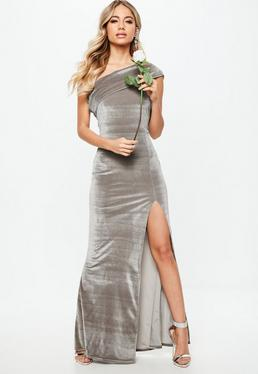 Bridesmaid Grey Velvet One Shoulder Overlay Maxi Dress