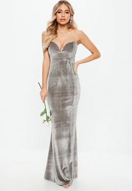 Bridesmaid Grey Velvet Sweatheart Maxi Dress