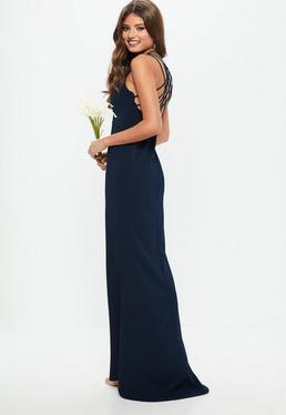Vestido largo dama de honor de tirantes con cola en azul marino