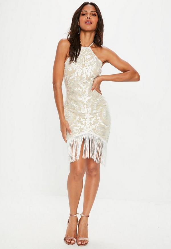White Lace Tassel Hem Dress by Missguided