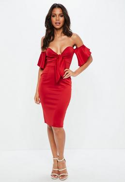 Red Bardot Tie Front Midi Dress