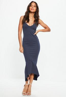 Granatowa sukienka na ramiączkach