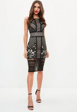 Black Stry Contrast Lace Midi Dress