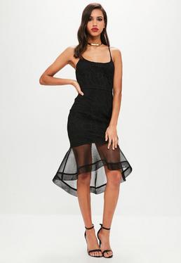 Black Lace Hem Midi Fishtail Dress