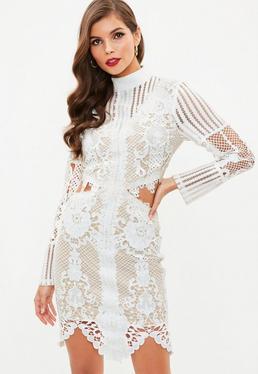 White Lace High Neck Cut Out Waist Dress