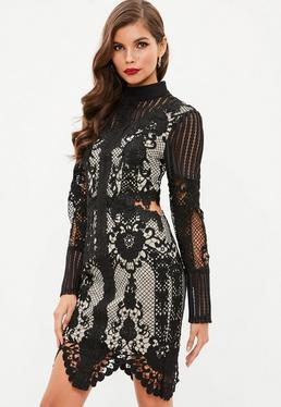 Black Lace High Neck Cut Out Waist Dress
