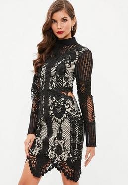 Czarna sukienka z zabudowanym dekoltem