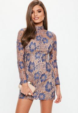 Nude High Neck Contrast Lace Dress