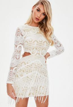 White Lace Cut Out Tassel Dress