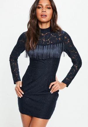 Black Lace High Neck Long Sleeve Mini Dress Missguided