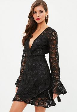 Black Lace Frill Tea Dress