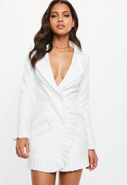 Vestido blazer corto con volantes en blanco