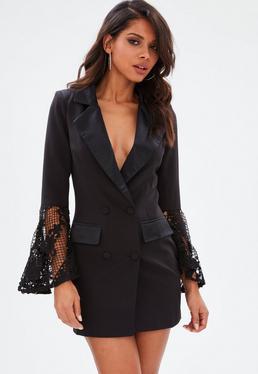 Black Lace Frill Flared Sleeve Blazer Shift Dress