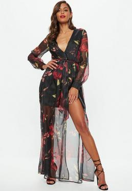 Black Chiffon Floral Printed Tie Waist Maxi Dress