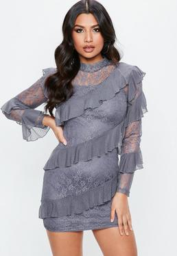 Gray Lace Long Sleeve Frill High Neck Shift Dress