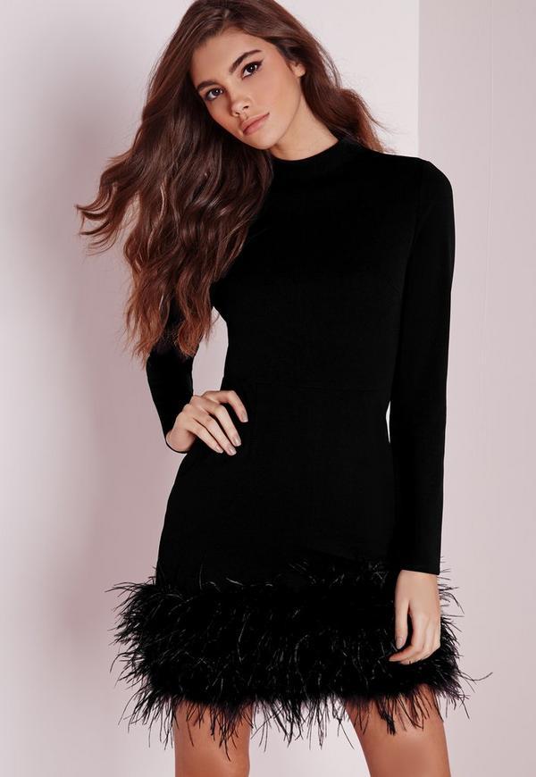 High Neck Feather Trim Bodycon Dress Black