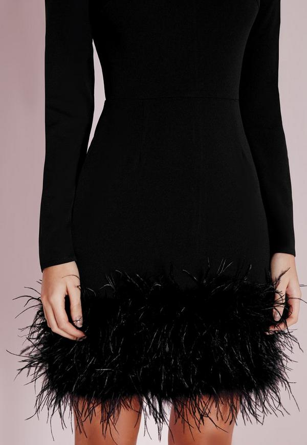 High Neck Feather Trim Bodycon Dress Black Missguided