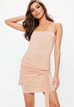 Nude Slinky Bandeau Tie Side Bodycon Dress