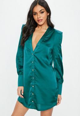 Green Satin Button Through Shirt Dress