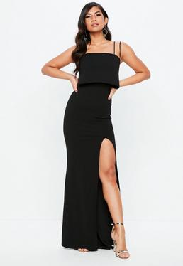 Black Square Neck Overlay Maxi Dress