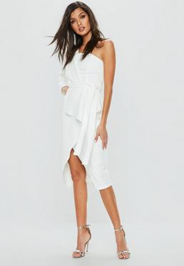 White One Shoulder Crepe Tie Waist Split Hem Dress