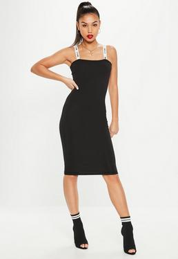 Black Jersey Slogan Strap Bodycon Dress