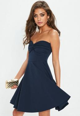Navy Scuba Bandeau Knot Front Dress