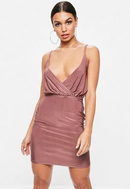 Pink Slinky Wrap Strappy Plunge Bodycon Dress