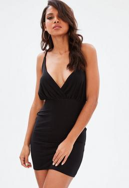 Black Slinky Plunge Bodycon Dress