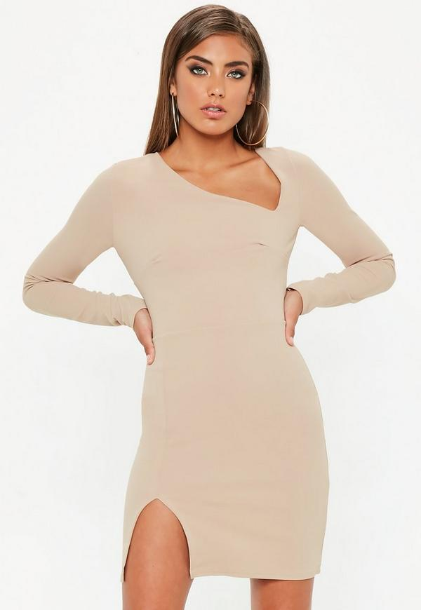 Camel Asymmetric Long Sleeve Mini Dress by Missguided