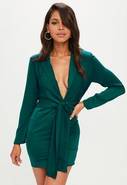 Green Satin Tie Front Knot Shift Dress