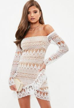 White Lace Bardot Wrap Flippy Hem Dress