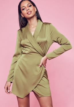 Khaki Textured Satin Collar Wrap Ruched Shift Dress