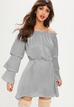 Gray Satin Bardot Tiered Sleeve Skater Dress