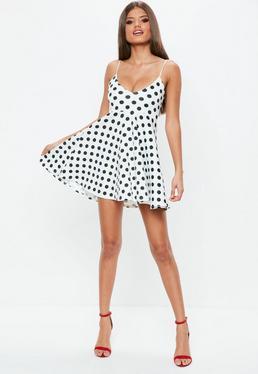 White Scuba Skater Dress