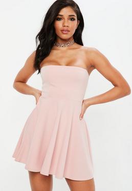 Pink Bandeau Skater Dress
