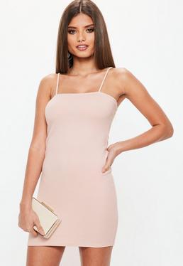 Pink Square Neck Bodycon Dress
