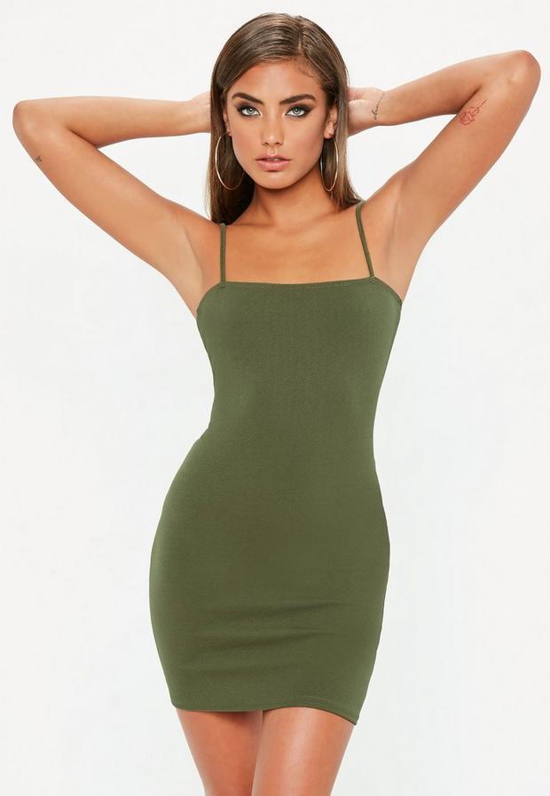 Product photo of Khaki square neck bodycon dress beige