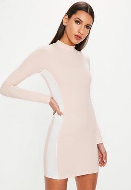 Nude High Neck Side Stripe Mini Dress