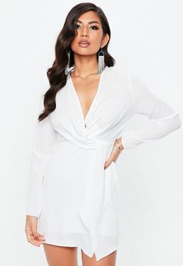 White Georgette Plunge Twist Front Shift Dress
