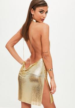 Gold Backless Chainmail Cowl Shift Dress