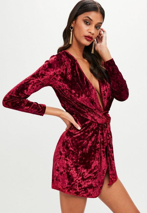Burgundy Crushed Velvet Knot Front Shift Dress | Missguided