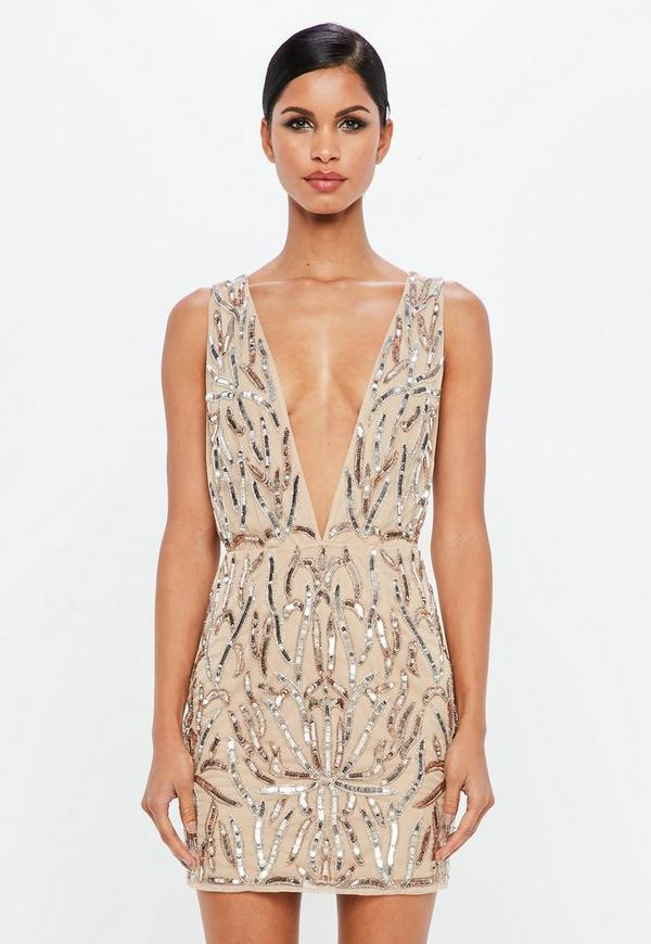 b922c2d34696 MISSGUIDED. PEACE + LOVE NUDE EMBELLISHED PLUNGE ...