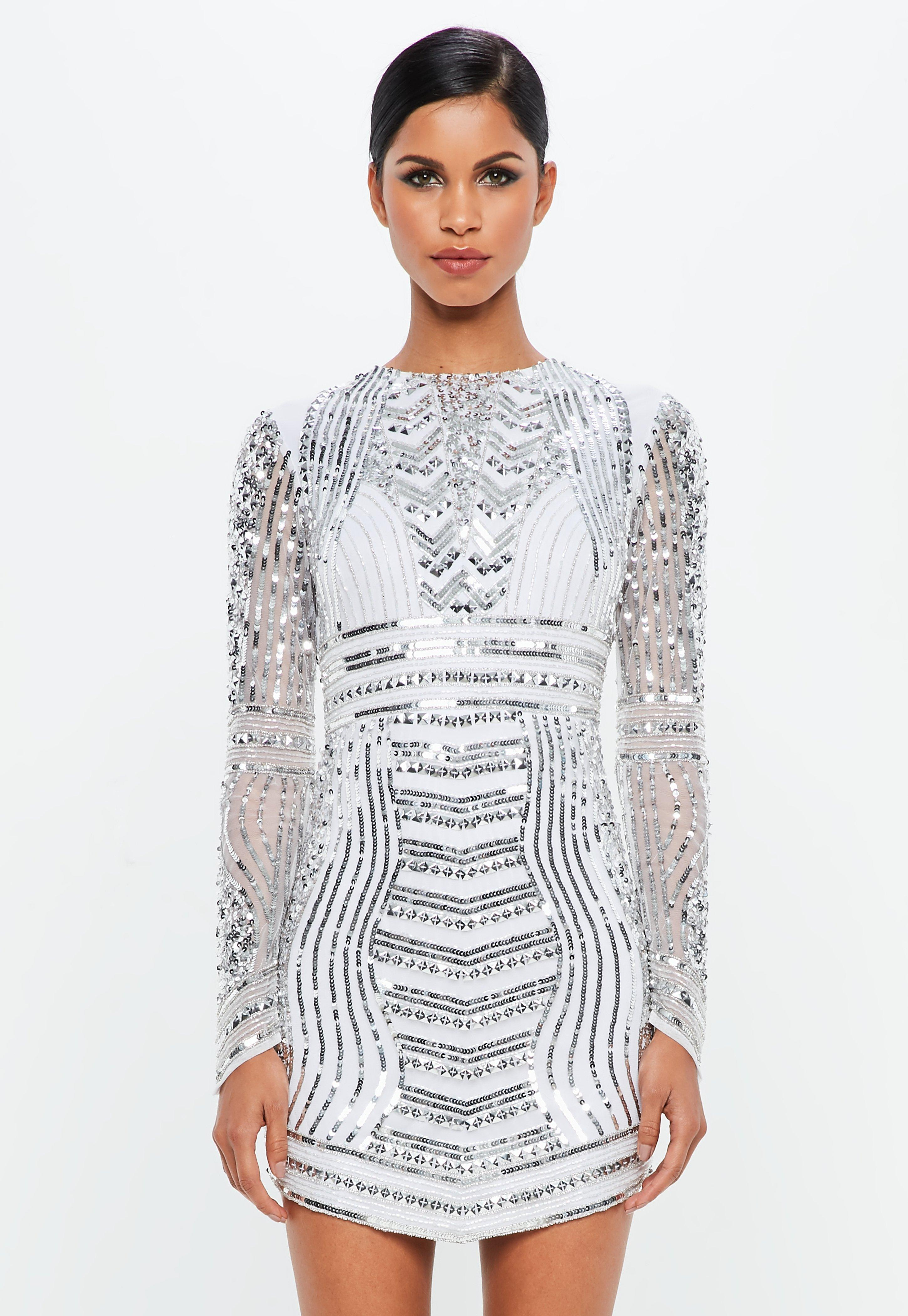 Peace + Love Silver Embellished Curve Hem Mini Dress