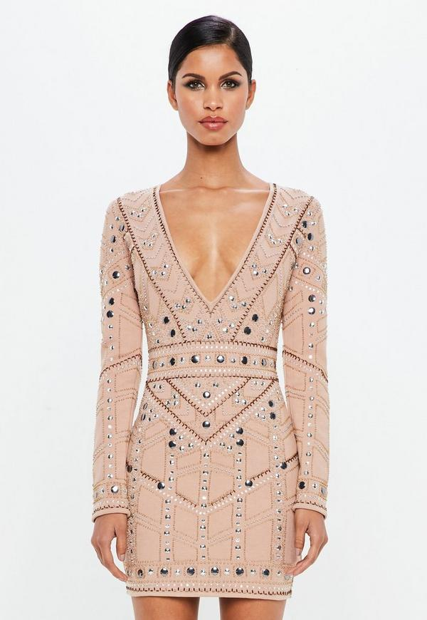 Peace + Love Nude Geo Embellished Plunge Mini Dress  | Missguided