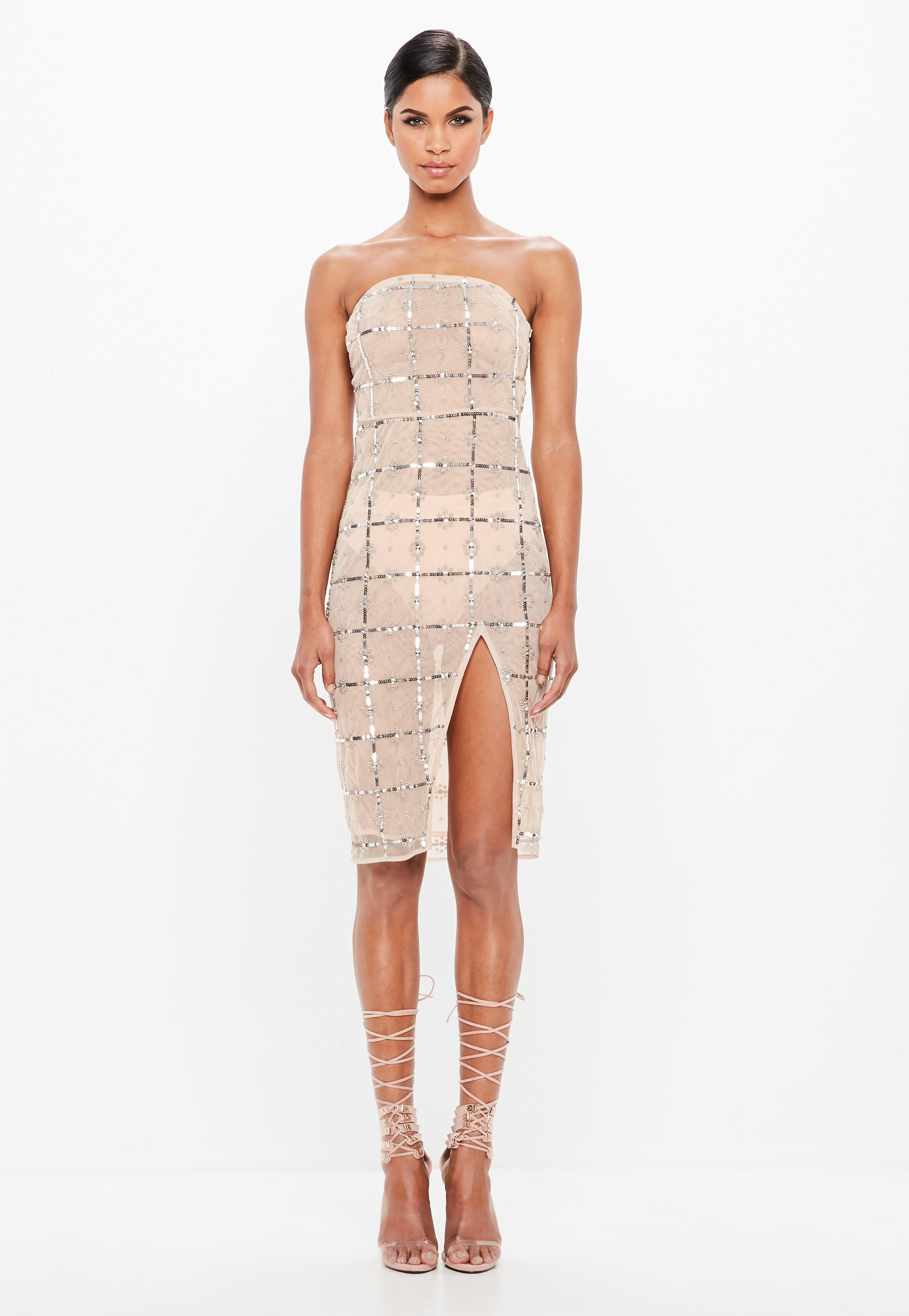 33eb09569a Peace + Love Nude Grid Embellished Bandeau Midi Dress