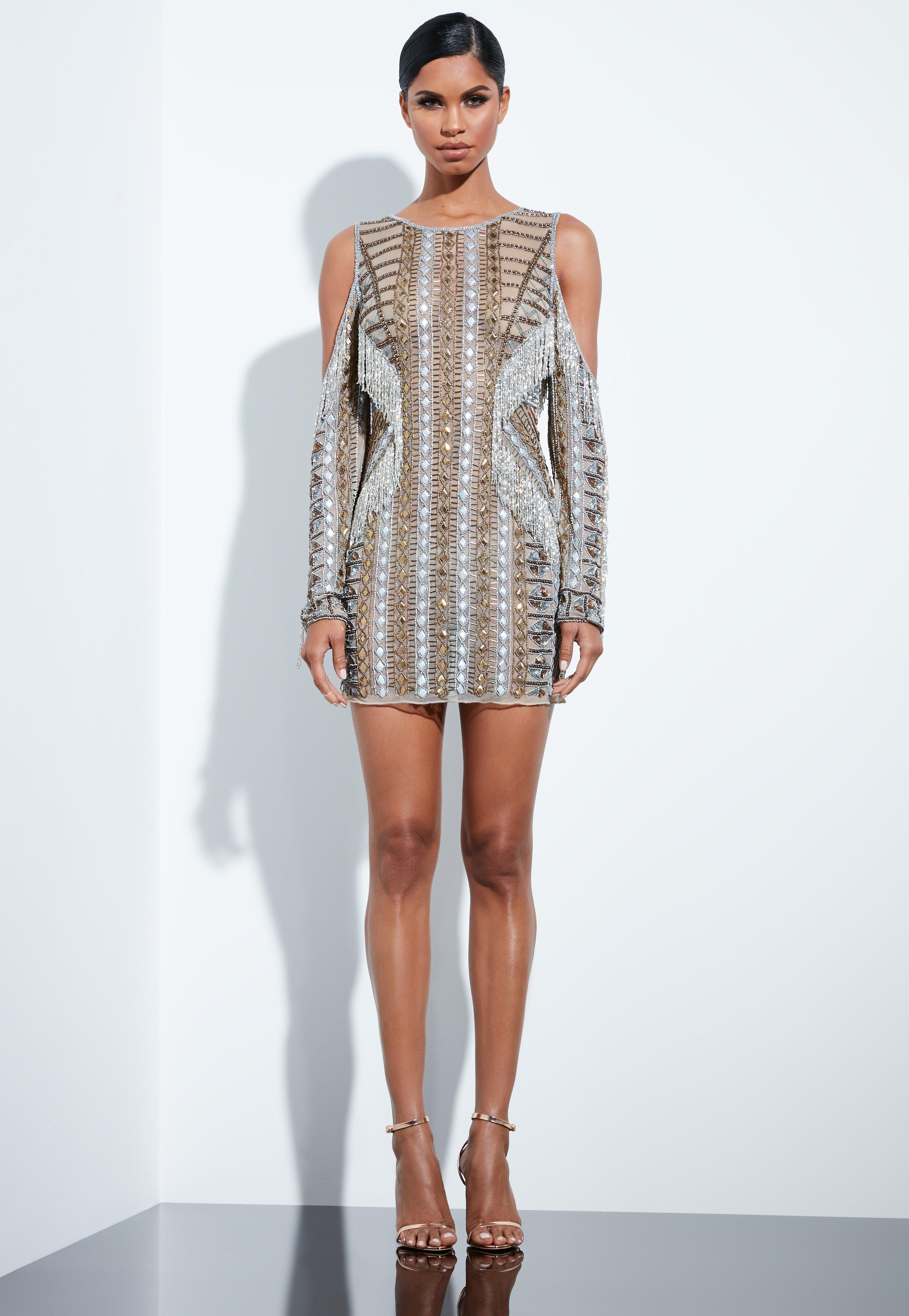 Peace + Love Silver Beaded Cold Shoulder Mini Dress | Missguided