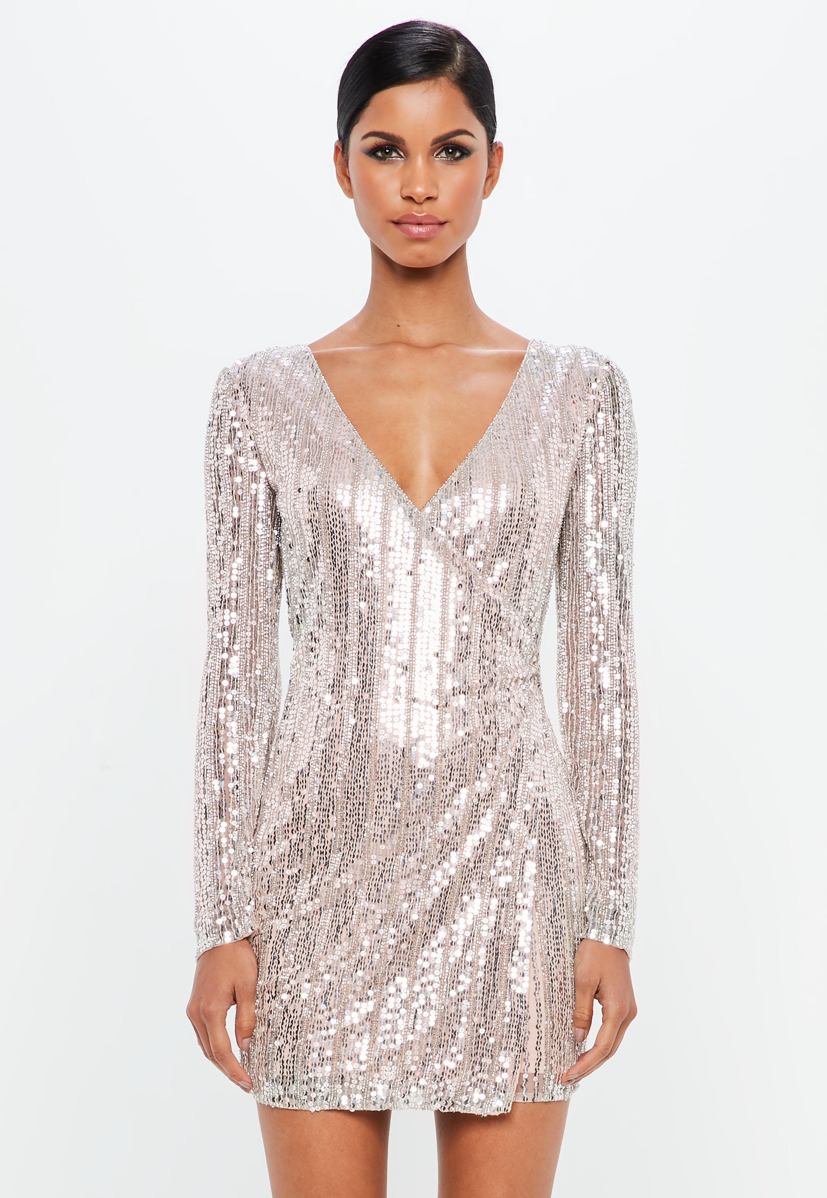 Super Specials Sale Amazon Missguided Silver Embellished Stripe Wrap Mini Dress Get Stockist Online 3gAiM