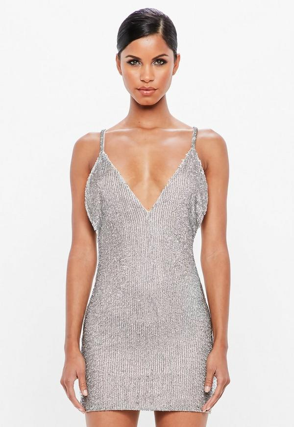 c927c8f78f5be Shoptagr | Peace + Love Silver Embellished Bodycon Mini Dress by ...
